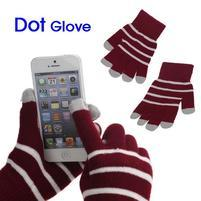 Pruhované rukavice pre práci s mobilom - červené
