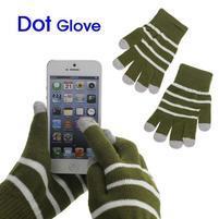 Pruhované rukavice pre práci s mobilom - army zelené