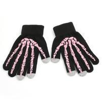 Skeleton rukavice na dotykové telefony - čierné/ružové