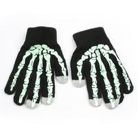 Skeleton rukavice pre dotykové telefony - čierné/zelené
