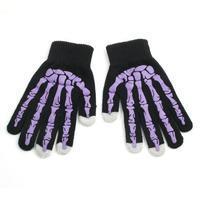 Skeleton rukavice na dotykové telefony - čierné/fialové
