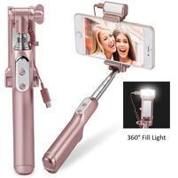 Funs bezdrôtová selfie tyč s LED osvetlením na nočné foto - ružovozlatá