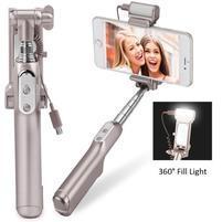 Funs bezdrôtová selfie tyč s LED osvetlením na nočné foto - zlatá