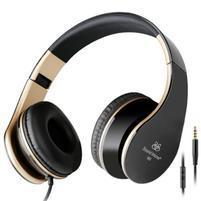 Fashion60 flexibilné uzavreté slúchadlá s handsfree - čierna/zlatá