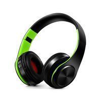 Fold náhlavné bluetooth slúchadla - čierne/zelené