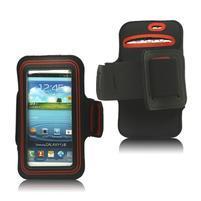 Fitness športové puzdro na mobil (140 x 75 mm) - čierne/červené
