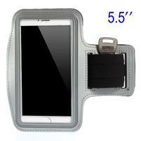 Bežecké puzdro na ruku pre mobil do veľkosti 152 x 80 mm - šedé