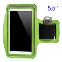 Bežecké puzdro na ruku pre mobil do veľkosti 152 x 80 mm - zelené