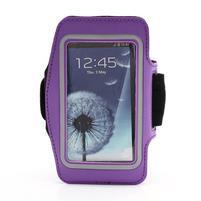Športové puzdro na ruku až do veľkosti mobilu 140 x 70 mm - fialové