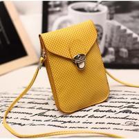 Texture PU kožená taštička s popruhom na mobil do  rozmerov 160 x 78 x 8 mm - žltá