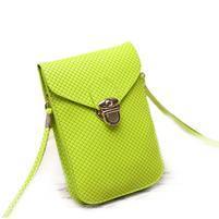 Texture PU kožená taštička s popruhom na mobil do  rozmerov 160 x 78 x 8 mm - zelená