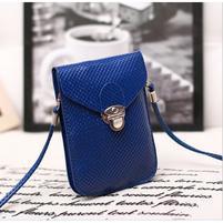 Texture PU kožená taštička s popruhom na mobil do  rozmerov 160 x 78 x 8 mm - modrá