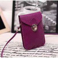 Texture PU kožená taštička s popruhom na mobil do  rozmerov 160 x 78 x 8 mm - fialová