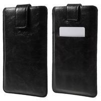 Univerzálne flipové puzdro pre mobily do 150 x 85 mm - čierne