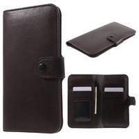 Peňaženkové univerzálne puzdro pre mobil do 140 x 68 x 10 mm - tmavohnedé