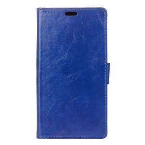 Horse PU kožené puzdro pre mobil Lenovo K5 Note - modré - 1