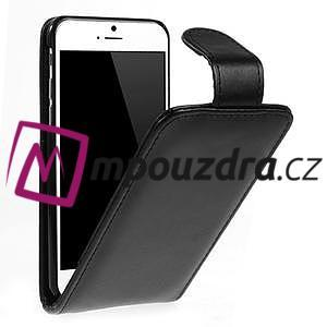 Kožené flipové puzdro pre iPhone 6, 4.7 - čierné - 1