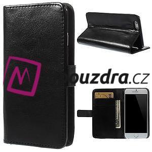 Peňaženkové kožené puzdro na iPhone 6, 4.7 - čierné - 1