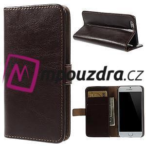 Peňaženkové kožené puzdro na iPhone 6, 4.7 - hnedé - 1