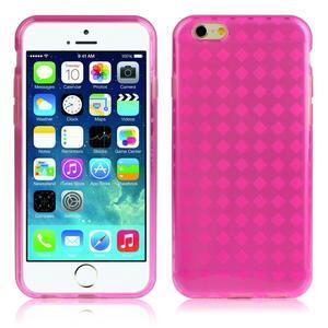 Gélové kostkované puzdro pre iPhone 6, 4.7 - ružové - 1