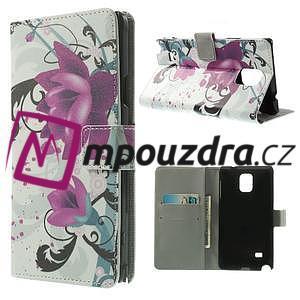 Peňaženkové puzdro pre Samsung Galaxy Note 4- fialový kvet - 1