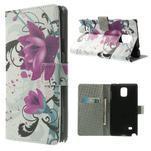 Peňaženkové puzdro pre Samsung Galaxy Note 4- fialový kvet - 1/7