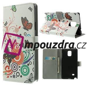 Peňaženkové puzdro pre Samsung Galaxy Note 4- farebné motýle - 1