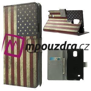 Peňaženkové puzdro pre Samsung Galaxy Note 4- USA vlajka - 1