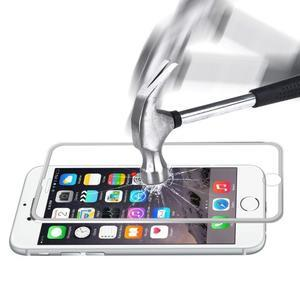 Hat celoplošné fixačných tvrdené sklo s 3D rohmi na iPhone 7 a iPhone 8 - strieborné lemy - 1