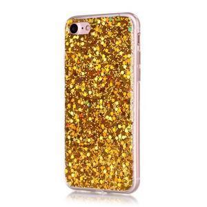 Trblietavý gélový obal na iPhone 7 a 8 - zlatý - 1