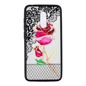 Lace gélový obal s plastovými zády pre Xiaomi Pocophone F1 - ruže - 1