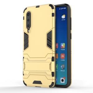 Kickstand odolný hybridný obal na Xiaomi Mi 9 SE - zlatý - 1