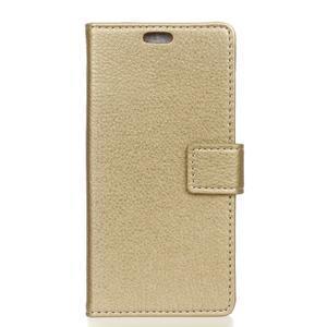 Litchi PU kožené peňaženkové puzdro s textúrou na Samsung Galaxy A9 - zlaté - 1