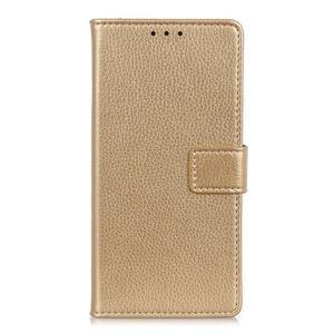 Litchi PU kožené peňaženkové puzdro na Samsung Galaxy A50 - zlaté - 1