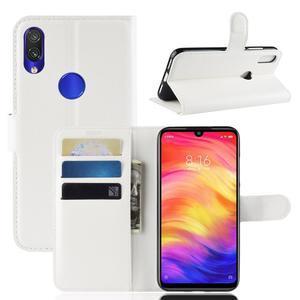 Stand PU kožené peňaženkové puzdro na Xiaomi Redmi Note 7 - biele - 1