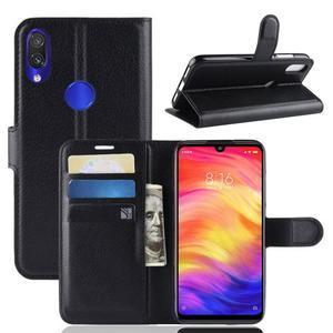 Stand PU kožené peňaženkové puzdro na Xiaomi Redmi Note 7 - čierne - 1