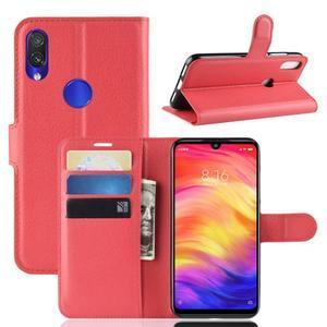 Stand PU kožené peňaženkové puzdro na Xiaomi Redmi Note 7 - červené - 1