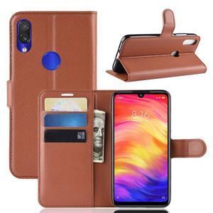 Stand PU kožené peňaženkové puzdro na Xiaomi Redmi Note 7 - hnedé - 1