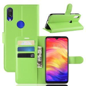 Stand PU kožené peňaženkové puzdro na Xiaomi Redmi Note 7 - zelené - 1
