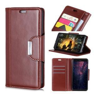 Wallet PU kožené peňaženkové puzdro na Xiaomi Redmi Note 7 - hnedé - 1