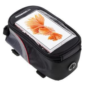 Prostorná brašna na kolo pro mobilní telefony do rozměru 158,1 x 78 x 7,1 mm - červený lem - 1