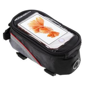 Prostorná brašnička na kolo na mobil do rozměru 124 x 59 x 7,6 mm - červený lem - 1