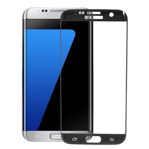 Full celoplošné tvrdené fixační sklo na displej Samsung Galaxy S7 edge - čierny lem - 1