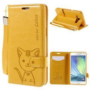 Mačička Domi PU kožené puzdro na Samsung Galaxy A5 - žlté - 1