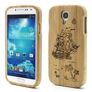 Drevené puzdro rozepínací pre Samsung Galaxy S4 - loď - 1