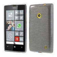 Gélové kartáčové puzdro na Nokia Lumia 520- šedé - 1/5