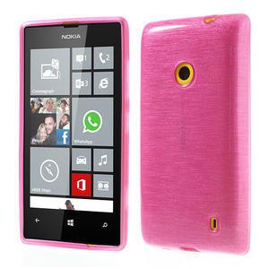 Gélové kartáčové puzdro na Nokia Lumia 520- růžové - 1