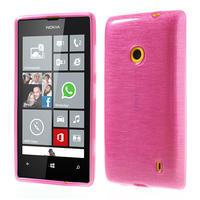 Gélové kartáčové puzdro na Nokia Lumia 520- růžové - 1/5