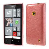 Gélové kartáčové puzdro na Nokia Lumia 520- svetleružové - 1/5