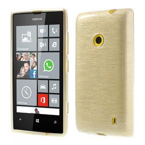 Gélové kartáčové puzdro na Nokia Lumia 520- zlaté - 1